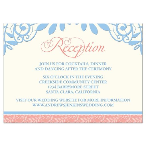 ​Coral, powder blue, and ivory vintage lace wedding reception card front