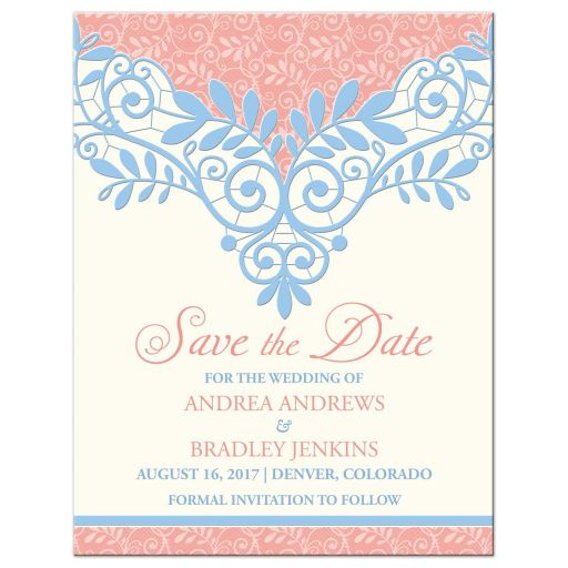 coral, powder blue, and ivory vintage lace wedding save the date announcement front