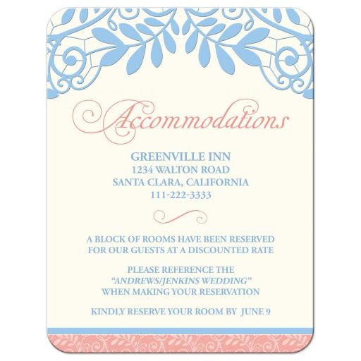 Coral, powder blue, and ivory vintage lace wedding accommodations card front