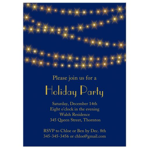 Sparkling Gold Lights on Navy Blue Holiday Party Invitations