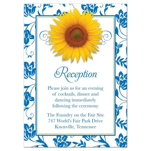 Yellow sunflower french blue damask floral wedding reception card front