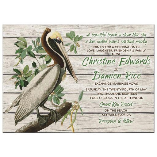 Rustic Pelican Destination or Beach Wedding Invitation