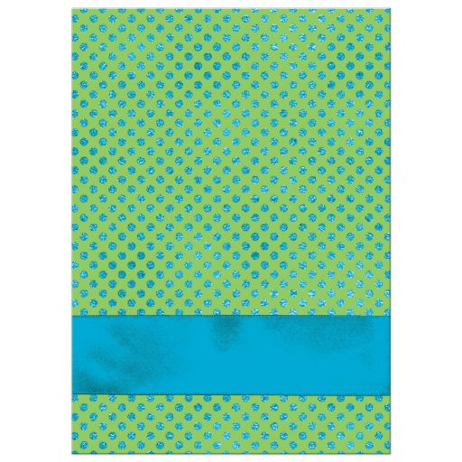Blue, Green and white polka dots Confirmation invitation with ribbon, bow, doves and Cross.