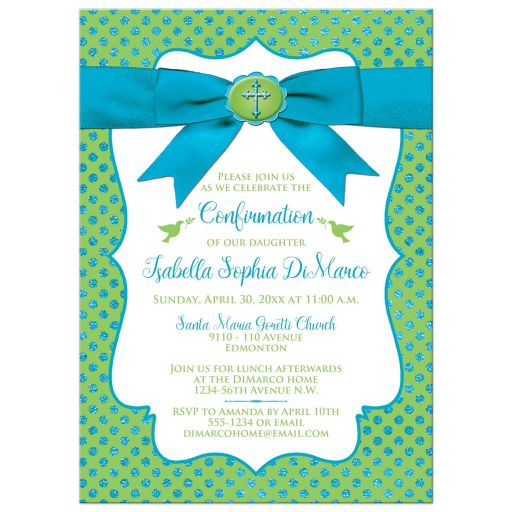 ​Blue, Green and white polka dots Confirmation invitation with ribbon, bow, doves and Cross.