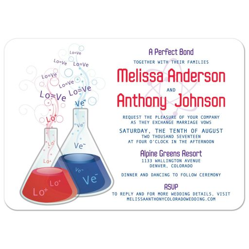 A perfect bond chemical reaction chemistry wedding invitations
