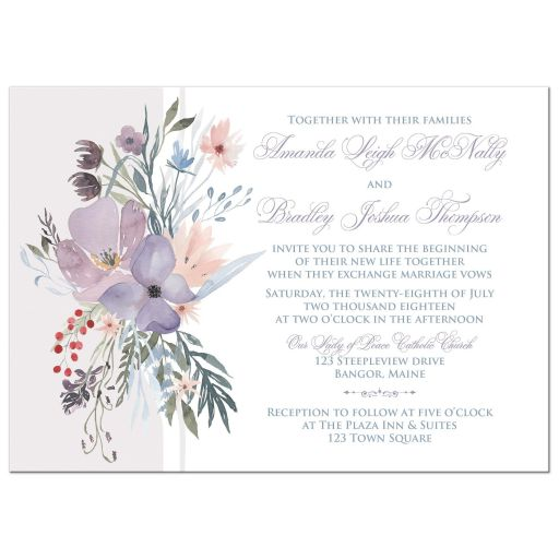 Watercolor wildflowers wedding invitation has a beautiful array of wildflowers and greenery in shades of smokey blue, lavender purple, plum, peach, taupe and green on a white and pale taupe grey background