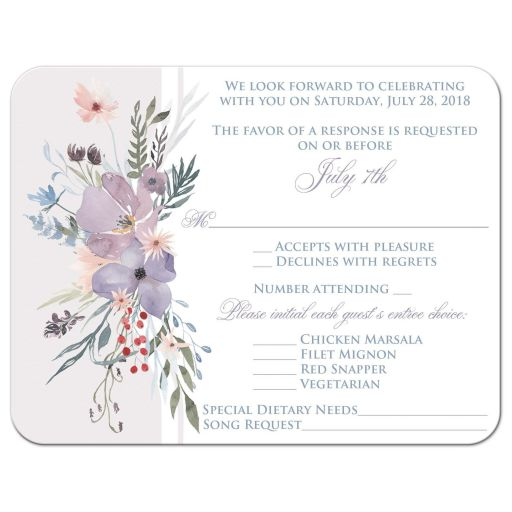 ​Watercolor wildflowers wedding RSVP response enclosure card insert has a beautiful array of wildflowers and greenery in shades of smokey blue, lavender purple, plum, peach, taupe and green on a white and pale taupe grey background.