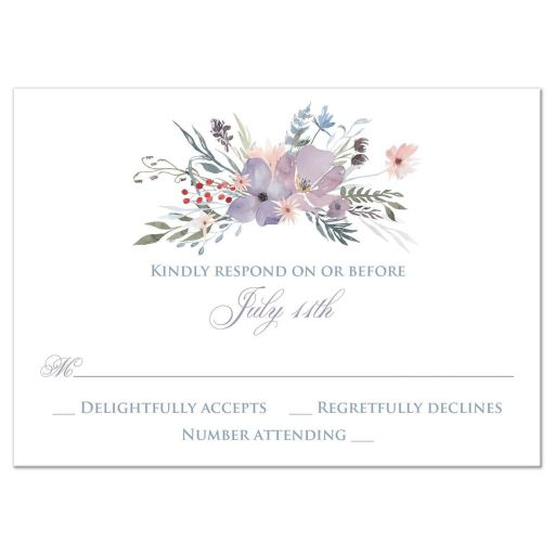 Watercolor wildflowers wedding RSVP response enclosure card insert has a beautiful array of wildflowers and greenery in shades of smokey blue, lavender purple, plum, peach, taupe and green on a white and pale taupe grey background.