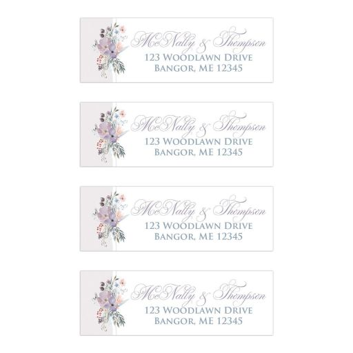 Personalized pastel watercolor wildflowers wedding return address mailing labels with wildflowers and greenery in shades of smokey blue, lavender purple, plum, pale peach, taupe and green