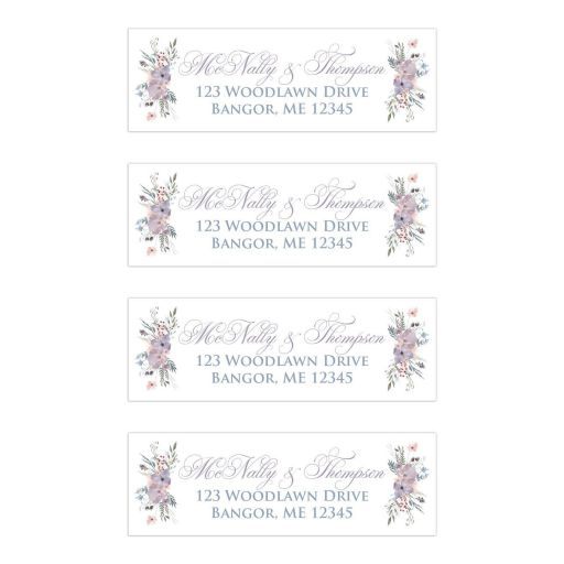 ​Personalized pastel watercolor wildflowers wedding return address mailing labels with wildflowers and greenery in shades of smokey blue, lavender purple, plum, pale peach, taupe and green on a white and pale taupe gray background.