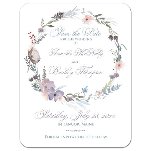 ​Watercolor wildflowers wedding save the date card with photo template has a beautiful wreath of wildflowers and greenery in shades of smokey blue, lavender purple, plum, peach, taupe and green on a white background.
