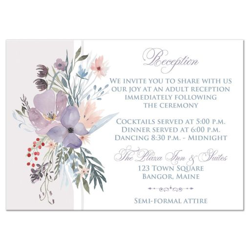​Watercolor wildflowers wedding reception enclosure card insert has a beautiful array of wildflowers and greenery in shades of smokey blue, lavender purple, plum, peach, taupe and green on a white and pale taupe grey background.