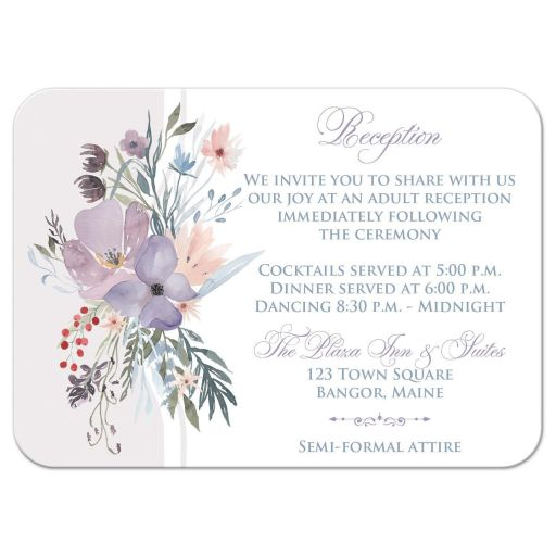 Watercolor wildflowers wedding reception enclosure card insert has a beautiful array of wildflowers and greenery in shades of smokey blue, lavender purple, plum, peach, taupe and green on a white and pale taupe grey background.