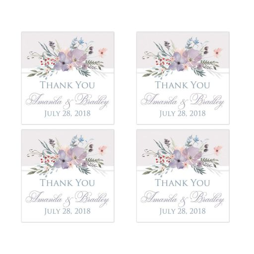 "​Personalized 2"" square watercolor wildflowers wedding favor thank you stickers feature a beautiful spray of wildflowers and foliage in shades of dusty blue, lavender purple, smokey plum, peach, taupe and green on a white and pale taupe gray background."