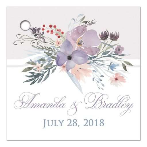 "​Personalized 2.5"" square watercolor wildflowers wedding favor thank you tag features a beautiful spray of wildflowers and foliage in shades of dusty blue, lavender purple, smokey plum, peach, taupe and green on a white and pale taupe gray background."