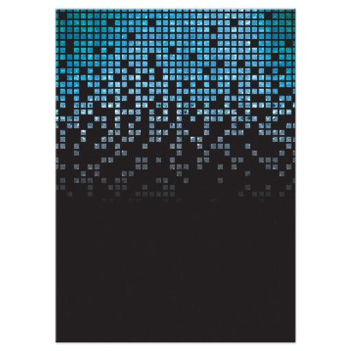 Blue, green, black raining pixels Star of David video game B'nai Mitzvah reception card back