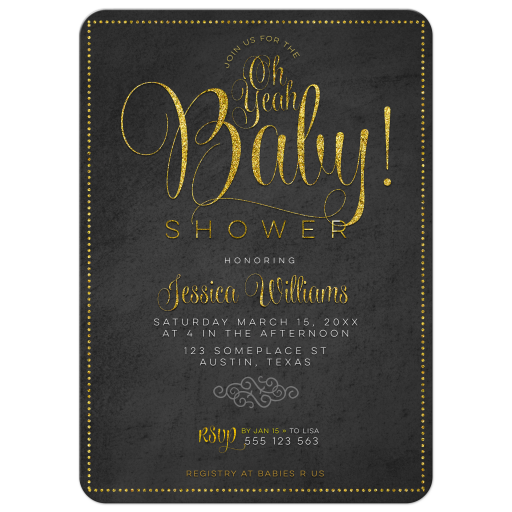 Gold Lettering Chalkboard Baby Shower Invitation