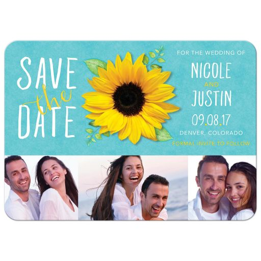 Modern turquoise, yellow, and white sunflower photo wedding save the date card