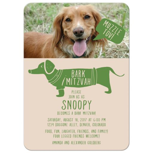 ​Green hipster muzzle tov dog photo bark mitzvah party invitation