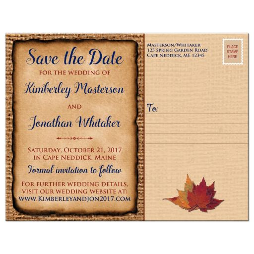 Rustic brown burlap wedding save the date postcard with a navy blue colored ribbon, a twine bow, and burnt orange, red, and rust autumn leaves on it.