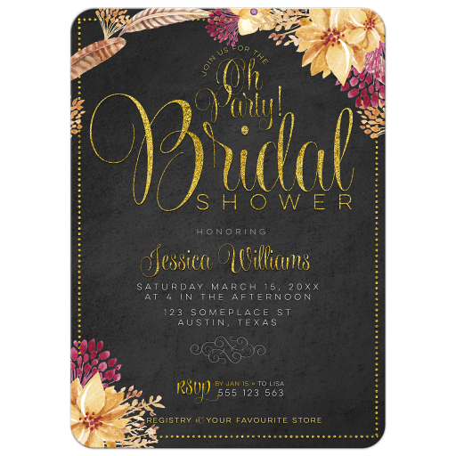 Bohemian Chalkboard Gold Bridal Shower