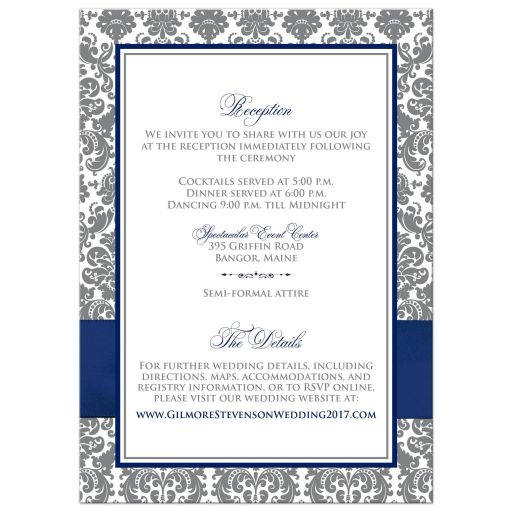 Navy blue, grey and white damask pattern wedding invitation with ribbon, bow, glitter and a jeweled joined hearts buckle on it.