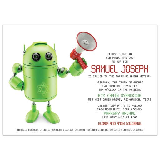 Fun green and red robot themed Jewish Bar Mitzvah invitation