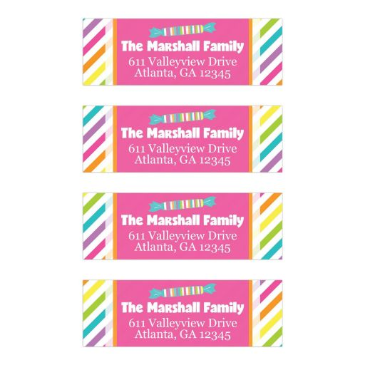 Candyland Candy Themed Bat Mitzvah Address Labels Version 1