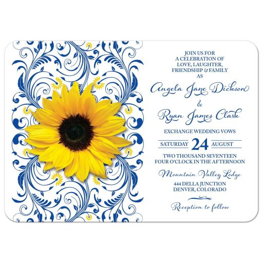 Floral royal blue and yellow sunflower wedding invitation