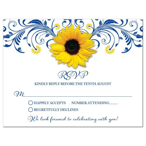 Floral royal blue and yellow sunflower wedding RSVP card