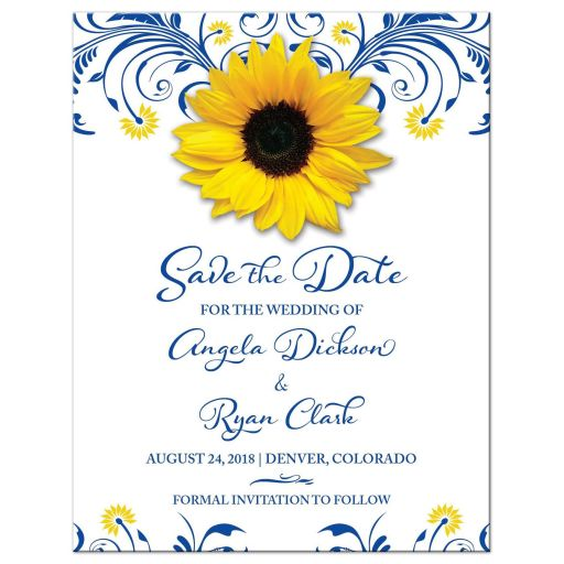 Floral royal blue and yellow sunflower wedding save the date announcement
