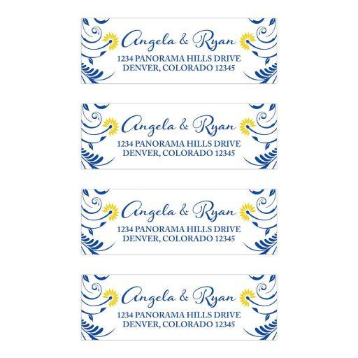 Royal Blue Yellow Floral Wedding Address Labels