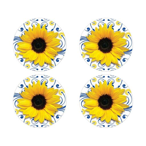 ​Elegant royal blue and yellow sunflower floral wedding envelope seals or wedding stickers