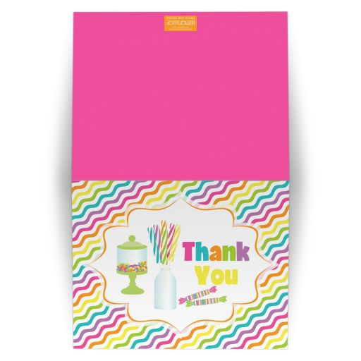​Candyland candy theme Bat Mitzvah thank you note card with gumball machine.