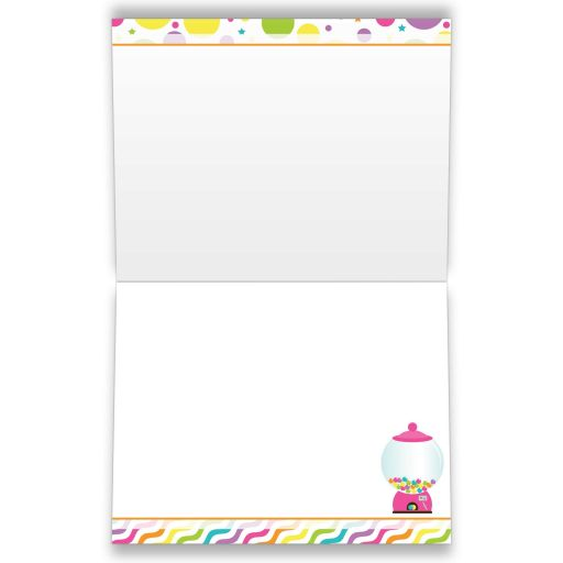 ​Candyland candy theme Bat Mitzvah thank you note card.