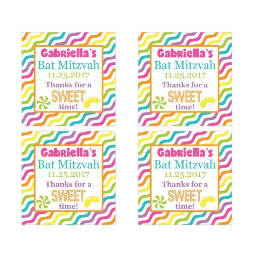 Candyland Bat Mitzvah party favor stickers with stripes and candies in bright pink, orange, purple, yellow, green, blue and white.
