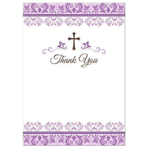 First communion thank you notes with purple, ornate damask borders and brown cross