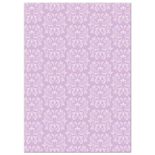 Elegant damask pattern, back of purple first communion thank you cards