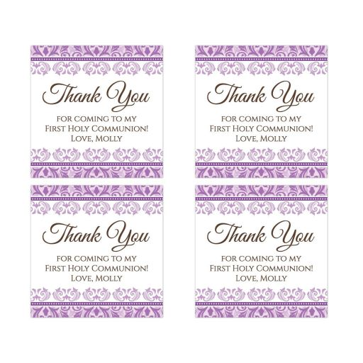 Communion thank you stickers with purple damask borders