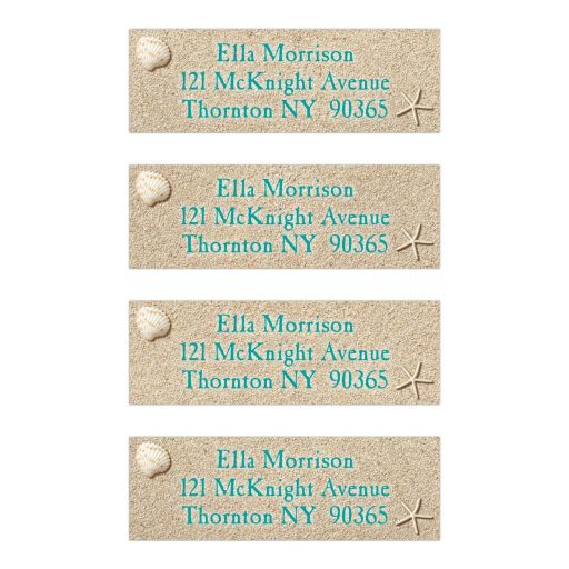 Beach Address Label with turquoise type on beach sand