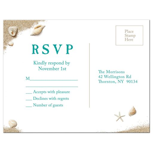 Beach Wedding RSVP Postcard on a beach sand background with seashells and turquoise type