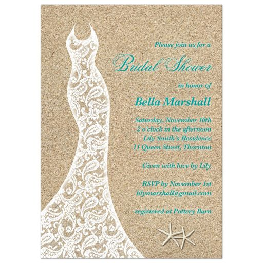 Lacy wedding dress bridal shower invitation with turquoise type on a beach sand background.