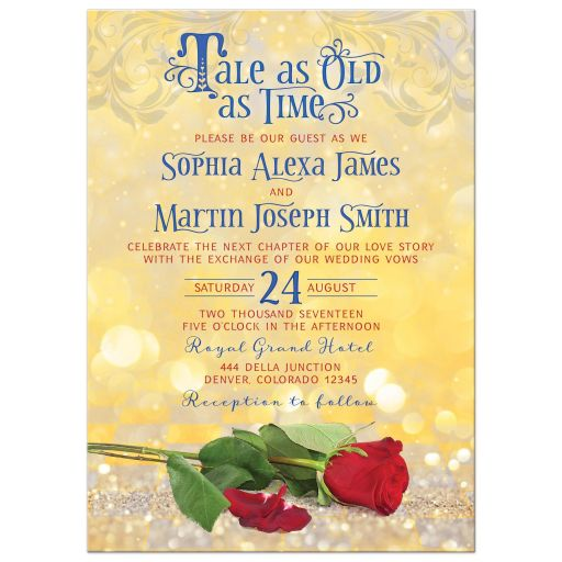 Beauty and the beast tale as old as time fairy tale wedding invitation