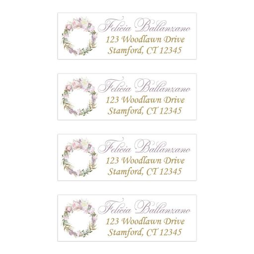 ​Personalized return address mailing labels with a round floral wreath of blush pink, mauve, creamy yellow roses with pale purple lilacs and a mix of gold, teal, and green foliage and leaves.