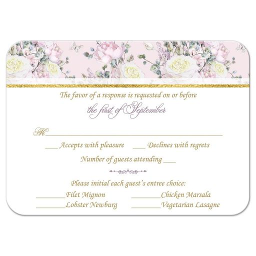 Response card with roses in blush pink, creamy yellow, and mauve with pale purple lilacs, mixed with gold, teal, and green foliage and leaves.