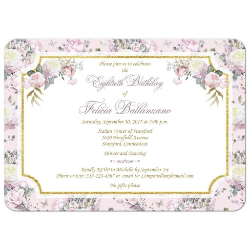 Blush pink, gold, white, purple roses and lilacs 80th birthday party invitation with round wreath and decorative scroll with faux gold foil.