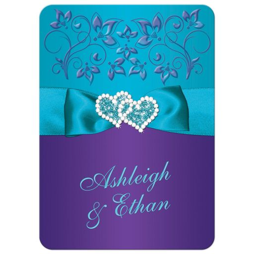 Purple and aqua blue floral wedding invitation with turquoise blue ribbon, bow, jeweled joined hearts, ornate scrolls and flourish.