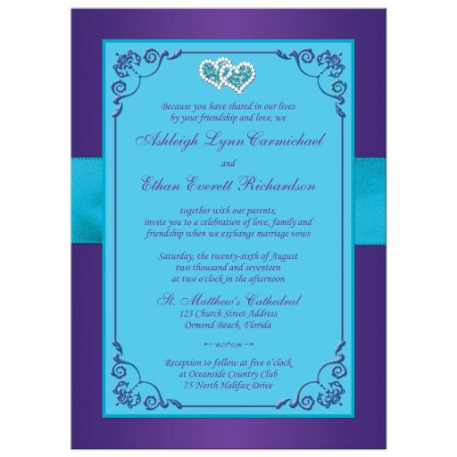 Purple and teal blue floral wedding invites with turquoise blue ribbon, bow, jeweled joined hearts, ornate scrolls and flourish.