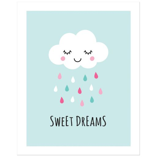 Sweet dreams poster print with cute, sleeping cloud