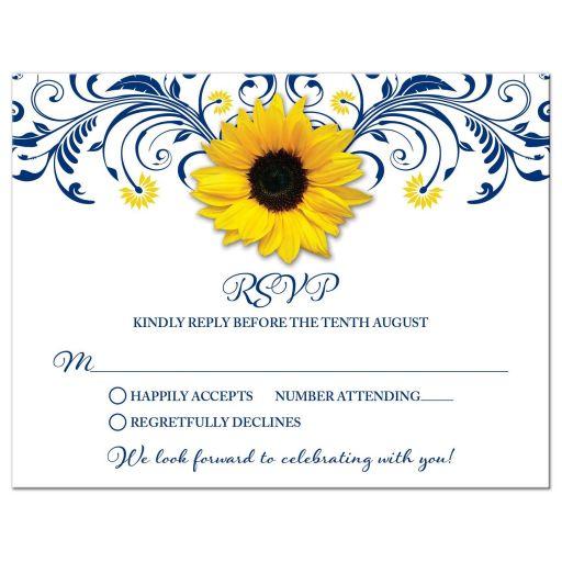 Navy Blue Sunflower Floral Wedding RSVP Card
